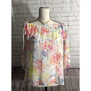 CAbi Off The Shoulder Colorful Floral Print Blouse